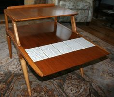Tables Antiques Vintage Mid Century Danish Modern Small End Table Lane Alta Vista Top Watermelons