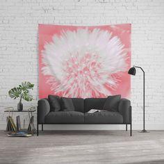 Pink Dandelion Wall Tapestry