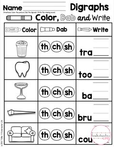 Digraph Practice - say the word, dab the digraph and fill in the missing digraph English Grammar For Kids, English Phonics, English Worksheets For Kids, 1st Grade Worksheets, Phonics Worksheets, Phonics Activities, Kindergarten Worksheets, Blends Worksheets, Teaching Phonics