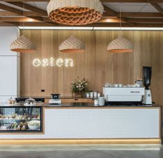 cafe restaurant Nest Pendants by Copper Design at Osten Cafe Restaurant Design, Decoration Restaurant, Deco Restaurant, Design Café, Kiosk Design, Bakery Design, Patisserie Design, Design Hotel, Bakery Interior