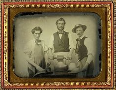 """""""Ambrotype of Hatmakers. Anonymous quarter plate size in full leather case. A…"""