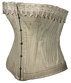 Lovely White Corset with Eyelet Trim and Flossing from the Mid 19th Century Bust: 44 inches (112 cm)  Waist: 35 inches (89 cm)  Hips: 44 inches (112 cm)  Condition is very good (please seeenlarged photographs).