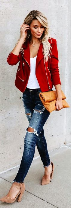 #winter #outfits red zip-up coat and distressed blue fitted jeans