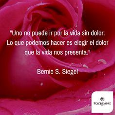 """""""Uno no puede ir por la vida sin dolor. Lo que podemos hacer es elegir el dolor que la vida nos presenta."""" Bernie S. Siegel. http://www.porsiempre.es/ #frases #duelo #joyas #cenizas"""