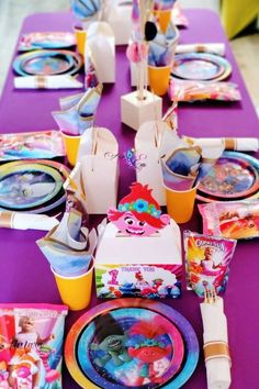 Check out this fun Trolls birthday party! The table settings are so cute! See more party ideas and share yours at CatchMyParty.com #catchmyparty #partyideas #trolls #trollsparty #girlbirthdayparty Trolls Birthday Party, Girls Birthday Party Themes, Troll Party, Girl Birthday, Birthday Parties, Balloon Garland, Balloon Decorations, Bride Book, Retirement Parties
