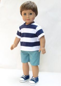 American Girl Boy Doll Clothes  Shorts and V Neck by Minipparel, $26.00