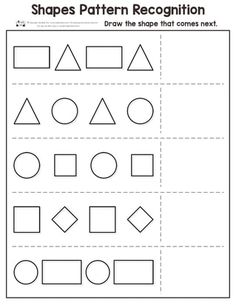 Shapes pattern recognition for kindergarten plays a big role in the learning of kids. These worksheets are instrumental in the development of kindergarten kids. Pattern Worksheets For Kindergarten, Patterning Kindergarten, Shapes Worksheets, Preschool Learning, Kindergarten Worksheets, Worksheets For Kids, Writing Prompts For Kids, Kids Writing, Shapes For Kids