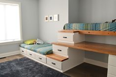 Shared boys bedroom makeover with built in beds Do you have an awkward area in your house that you don't quite know what to do with? Make a custom built in bed with storage. Kids Bedroom, Bedroom Decor, Boy Bedrooms, Bunk Beds For Boys Room, Loft Beds, Bedroom Small, Room Kids, Small Rooms, Dream Bedroom