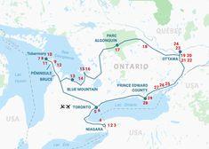 Carte L'Ontario du Lac Huron aux 1000 îles Tour Cn, Lac Huron, Ontario, Formations Rocheuses, Grands Lacs, Road Trip, Ottawa, Kingston, Canada