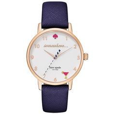 Kate Spade New York Metro Leather Strap Watch ($175) ❤ liked on Polyvore featuring jewelry, watches, navy, navy jewelry, navy blue jewelry, leather-strap watches, stainless steel watches and stainless steel jewellery