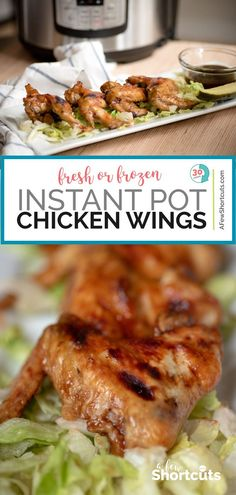 Instant Pot Chicken Wings Recipe – (Fresh or Frozen) Make the best chicken wing from frozen to amazing in under 30 minute wtih this Simple Instant Pot Chicken Wings Recipe! Toss with your favorite sauce and enjoy! Instant Pot, Great Appetizers, Appetizer Dinner, Appetizer Recipes, Clean Eating Snacks, Healthy Eating, Frozen Chicken Wings, Chicken Wing Recipes, Keto Chicken