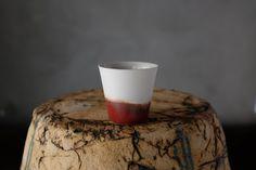 Red Half Glazed Espresso Cup by BIZON on Etsy