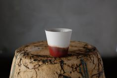 Red Half Glazed Espresso Cup by BIZON on Etsy
