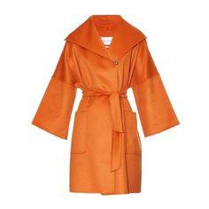 MAX MARA Pompeo coat (18,290 MYR) ❤ liked on Polyvore featuring outerwear, coats, orange, maxmara coat, tie belt, cocoon coat, orange coat and cashmere coat