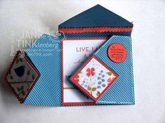 Origami Diamond Fold card....below the card is the products used and a blog to follow for tutorial....