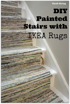 IY Painted Stairs with IKEA Rugs - TANUM Rugs - Thrift Diving