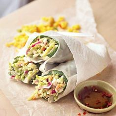 Sweet and Spicy Spring Rolls- These look so good