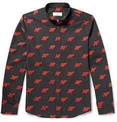 AMI - Heart-Print Washed Cotton-Poplin Shirt|£145.93 / Approx. JPY ¥17,054