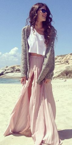 Lovely pale #pink pleated maxi skirt http://rstyle.me/n/ecfwtr9te