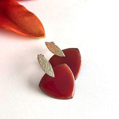 Orange/Red Enameled Earrings - Janice Abarbanel