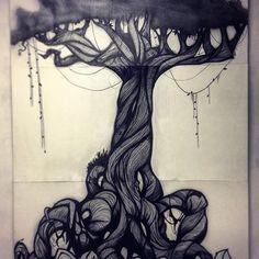 Done!, made by Carlos Orihuel for @_hl2_ . El mural ya está colgado, tener un árbol a escala real en toda una pared y sobre todo elaborado por un gran amigo no tiene precio. Gracias CHK!! Eres un figura!. #handmade #elrastrodemadrid #pinturamural #artesania #graffiti #_hl2_ #notieneprecio #gracias