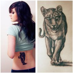 lioness tattoo I'd like to have this one done with the paw print and lioness face in the print