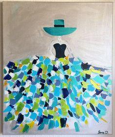 C'est un tableau moderne qui représente une femme dans une robe aux couleurs flamboyantes sur une toile de dimension 55x46. Peinture contemporaine et moderne. Les couleurs ut - 18900365