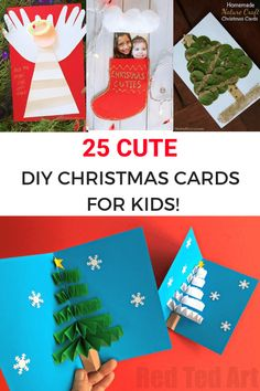 25 cute DIY Christmas cards for kids. Beautiful Christmas tree cards hand print footprint and fingerprint cards snowman cards stocking cards and even unicorn cards for toddlers preschoolers kindergarteners school aged kids teens and tweens! Christmas Crafts For Kids To Make, Christmas Card Crafts, Homemade Christmas Cards, Christmas Tree Cards, Christmas Activities, Kids Christmas, Handmade Christmas, Diy For Kids, Holiday Crafts