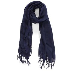 Caslon Linen Blend Scarf ($32) ❤ liked on Polyvore featuring accessories, scarves, navy peacoat, navy shawl, summer shawl, fringe scarves, fringed shawls and navy blue scarves