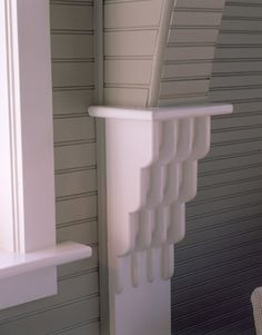 don't like the rounded corners on the cornice, but LOVE the beadboard detail