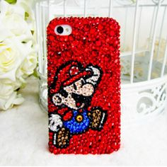 Handmade Bling Bling Super Mario Crystal Rhinestone case cover for iphone5 iphone4 and 4S