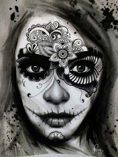Trendy Tattoo Girl Sketch Day Of The Dead Trendy Tattoo Girl Sketch Tag der Toten Day Of The Dead Tattoo Designs, Tattoo Designs For Girls, Tatto Skull, Sugar Skull Tattoos, Tattoo Art, Day Of The Dead Mask, Day Of The Dead Skull, Sugar Skull Makeup, Sugar Skull Art