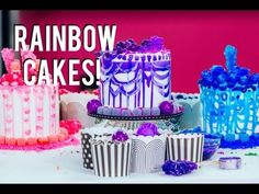 VIDEO : how to make rainbow cakes with a sprinkle surprise inside! decorating with tiffany pratt! - watch me behind the scenes live on face. Chocolate Buttons, White Chocolate Cookies, Tiffany Pratt, Cookies Cupcakes And Cardio, Chicken Cake, Ice Cream Birthday Cake, Royal Icing Flowers, Bottle Cake, Ice Cake