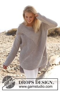 "Knitted DROPS jumper worked in a square in garter st in ""Paris"". Size: S - XXXL. ~ DROPS Design free pattern"