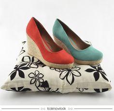 Espadrille Anabela | Carmim e Turquesa  #sandália #espadrille #salto #corda #color #calçados #looknowlook