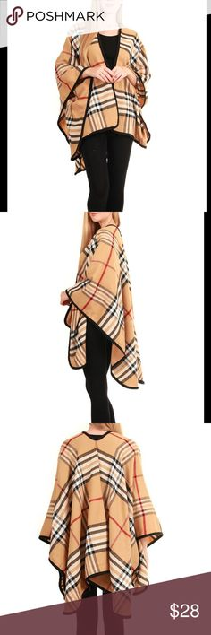 Ruana Cape Shawl Multi color, fall winter! High Quality acrylic ! Accessories Scarves & Wraps