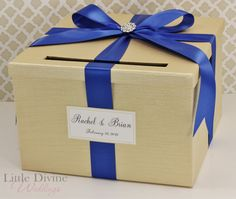 Wedding Card Box Champagne Gold and Royal Blue by LittleDivine