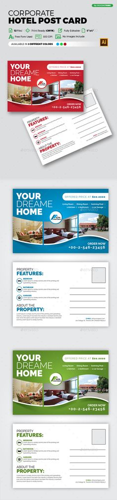 Hotel Post card Design - EPS Template • Only available here ➝ http://graphicriver.net/item/hotel-post-card-design/16895202?ref=pxcr
