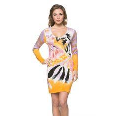 Women's Hand-painted Purple/ Yellow Long-sleeve Dress