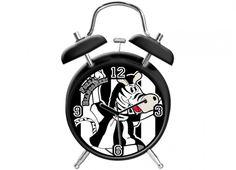 TIF8 SVEGLIA 20CM BIANCO/NERI  Orologio sveglia con suono meccanico con disegni della zebra Forza Bianconeri, colori bianco nero
