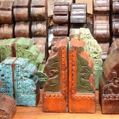 Recycled Teak Hand Carved Blocks from India. Support ethical and sustainable trade. Rustic Furniture, Vintage Furniture, Northern Thailand, Indoor Outdoor Living, Interior And Exterior, Teak, Hand Carved, Recycling, Carving