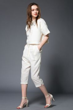Women's white suit short sleeved simple street style | victoriaswing