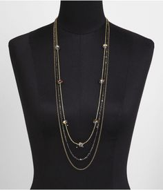THREE ROW LONG FACETED BEAD NECKLACE | Express
