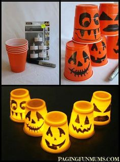 Orange solo cups, black sharpie & mini lites = pumpkins