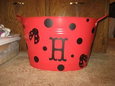 Lady Bug Bucket! Red color, black dots & monogram letter are enough so that you can reuse.  #LadyBugPicnic