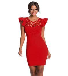 ca7bfad89a87 Ελαστικό μίνι φόρεμα που αγκαλιάζει τη σιλουέτα Με ιδιαίτερο διατριτό  σχέδιο στο ντεκολτέ και κοντά βολάν