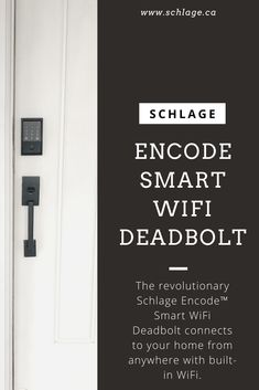 The revolutionary Schlage Encode Smart WiFi Deadbolt connects to your home from anywhere with built-in WiFi. Pair with the Schlage Home app to grant access to trusted friends and family with customized access codes, and know when your lock has been accessed. It's total control and peace of mind at your fingertips. #schlage #smartdeadbolt #homedecor #ecohome #schlagecanada