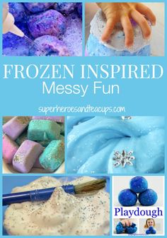 Frozen inspired messy fun for kids. These cool activities will keep your little Frozen fan busy for hours. Prepare to get messy!