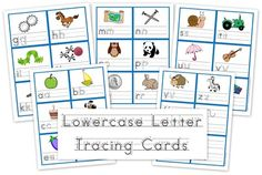 Lowercase Letter Tracing Cards for preschool/kindergarten to use for letter formation. #ece