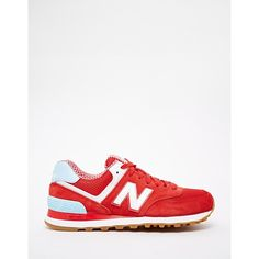 New Balance 574 Red Suede Trainers ($96) ❤ liked on Polyvore